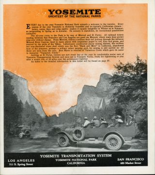 Yosemite all-year-round National Park California Y T S tour Tioga Pass route Yosemite Valley Hetch Hetchy Big Trees Glacier Point Lake Tahoe Yosemite Transportation System 1924 [cover title].