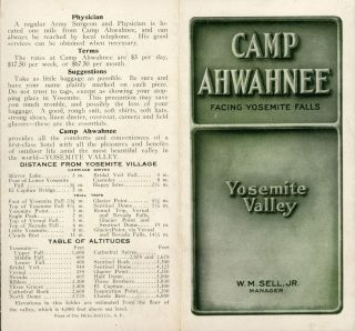 Camp Ahwahnee facing Yosemite Falls Yosemite Valley[.] W. M. Sell, Jr. Manager [cover title]....