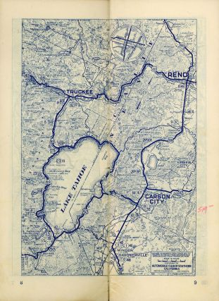 """Road maps[.] Los Angeles, Calif. to Reno, Nevada via Bishop, California[.] Mileage via Bishop and Bridgeport 471[.] Bishop and Fallon 565[.] Automobile Club of Southern California """"the friend to all motorists since 1900"""" 63 949 [cover title]."""