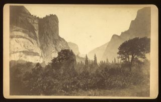 Yosemite Valley] Untitled [View up the Valley with Royal Arches, Washington Column and Mount...