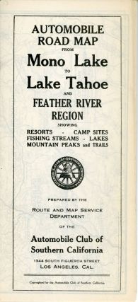 Automobile road map from Mono Lake to Lake Tahoe and Feather River region showing resorts, camp...