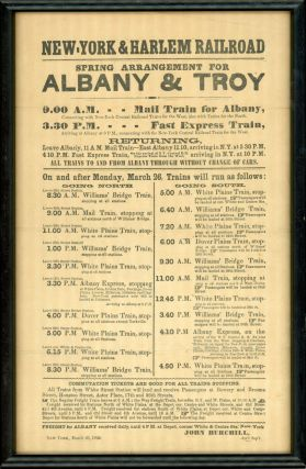 NEW YORK & HARLEM RAILROAD[.] SPRING ARRANGEMENT FOR ALBANY AND TROY ... COMMUTATION TICKETS ARE...