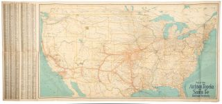 SANTA FE MAP FOLDER SHOWING PRINCIPAL RAILROAD LINES OF THE UNITED STATES, WITH PORTIONS OF CANADA AND MEXICO. ALSO CONTOUR AND ALTITUDE MAPS OF TERRITORY TRAVERSED BY SANTA FE SYSTEM LINES ... AND MAPS OF BUSINESS DISTRICTS OF CHICAGO, KANSAS CITY, LOS ANGELES AND SAN FRANCISCO. Issued by the Atchison, Topeka, and the Santa Fe Railway System [cover title].