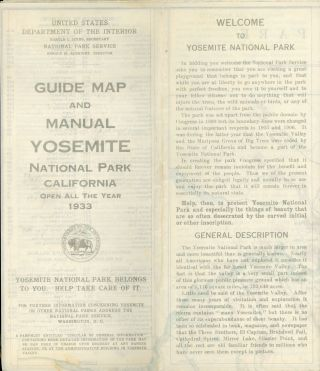 Motorists guide map and manual Yosemite National Park California open all year 1933 ... [cover...