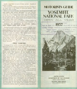 Motorists guide Yosemite National Park open all year 1937[.] United States Department of the...