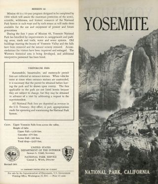 Yosemite National Park, California [cover title]. UNITED STATES. DEPARTMENT OF THE INTERIOR....