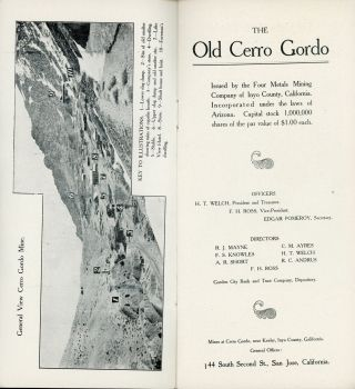 THE OLD CERRO GORDO[.] ISSUED BY FOUR METALS MINING COMPANY OF INYO COUNTY, CALIFORNIA. INCORPORATED UNDER THE LAWS OF ARIZONA ...