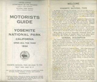 Motorists guide Yosemite National Park California open all year 1934 ... [cover title]. UNITED...
