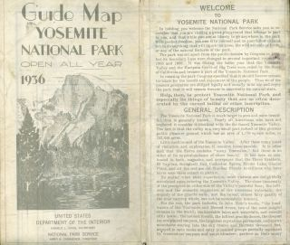 Guide map Yosemite National Park open all year 1936[.] United States Department of the Interior...