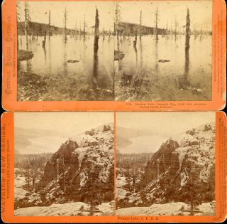 EIGHT STEREOSCOPIC PHOTOGRAPHS OF THE CENTRAL PACIFIC RAILROAD AND ADJACENT AREAS TAKEN BY CARLETON E. WATKINS IN 1869.
