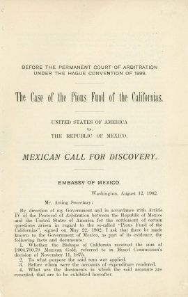 SOME ACCOUNT OF THE PIOUS FUND OF CALIFORNIA AND THE LITIGATION TO RECOVER IT. By John T. Doyle.