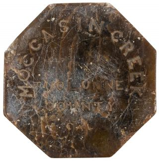 CALIFORNIA GOLD RUSH RELIC. OCTAGONAL POLISHED STONE SOUVENIR FROM MOCCASIN CREEK, TUOLUMNE COUNTY, CALIFORNIA, DATED 4 JULY 1859.