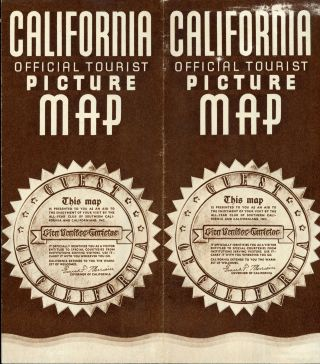 CALIFORNIA OFFICIAL TOURIST PICTURE MAP[.] THIS MAP IS PRESENTED TO YOU AS AN AID TO THE ENJOYMENT OF YOUR VISIT BY THE ALL-YEAR CLUB OF SOUTHERN CALIFORNIA AND CALIFORNIANS, INC. ... [cover title].