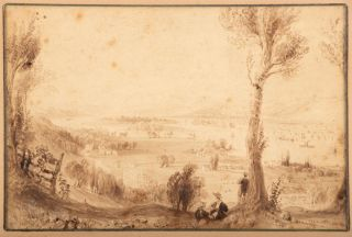 VIEW FROM MOUNT IDA [TROY, NEW YORK]. Original drawing. New York, Troy, Hudson River
