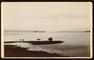 YELLOWSTONE LAKE FROM THE HOTEL. No. 3681. Gelatin silver print. Yellowstone National Park, Frank...