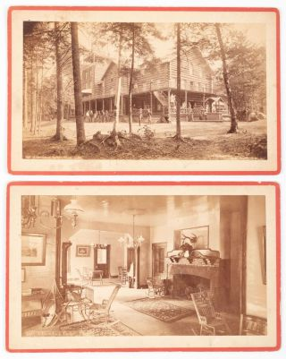 ADIRONDACK LODGE, CLEAR LAKE No. 432 [with] ADIRONDACK LODGE, PARLOR. No. 440. Two albumen...