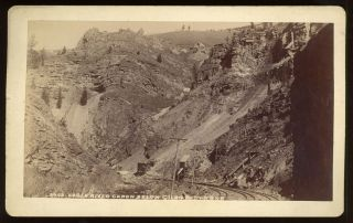 EAGLE RIVER CANYON BELOW GILMAN DV R G R R. Albumen print. Colorado, Barkalow Brothers