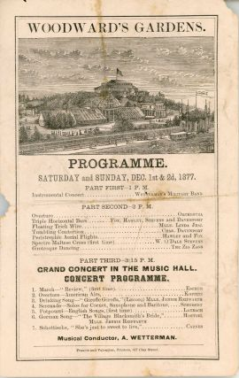 WOODWARD'S GARDENS. PROGRAMME. SATURDAY AND SUNDAY, DEC. 1ST & 2D, 1877 ... [caption title]....