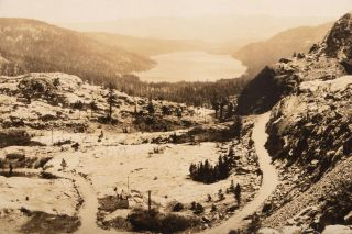 DONNER LAKE FROM SUMMIT -- LINCOLN HIGHWAY. Gelatin silver print.