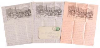 AUTOGRAPH LETTER DATED 12 AUGUST 1883 TO C. M. DIXON IN IOWA DESCRIBING A TRIP FROM SAN FRANCISCO TO YOSEMITE VALLEY, WRITTEN ON THREE SHEETS OF BARNARD'S YO SEMITE FALLS HOTEL STATIONARY.