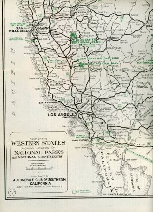 Map of the western states showing location of national parks and national monuments ... Copyright by Automobile Club of Southern California 2601 So. Figueroa St., Los Angeles.